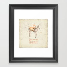 You are my adventure- fox and deer in winter- merry christmas Framed Art Print