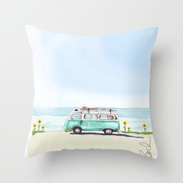 Buds and V dubs Throw Pillow