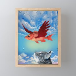 The flying fish and the amazed cat - Fantsy Framed Mini Art Print