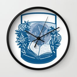 Rhododendron Orcas Island Book Woodcut Wall Clock
