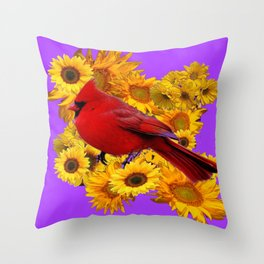 RED CARDINAL & YELLOW SUNFLOWERS PANTENE PURPLE Throw Pillow