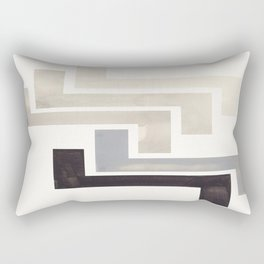 Grey Aztec Pattern Mid-century Modern Simple Geometric Pattern Watercolor Minimalist Art Squares Rectangular Pillow