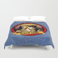 river song Duvet Covers featuring Where In Time and Space Is River Song? by mikaelak