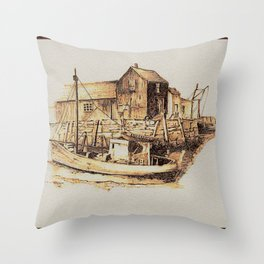 Moored at the Fish House Throw Pillow