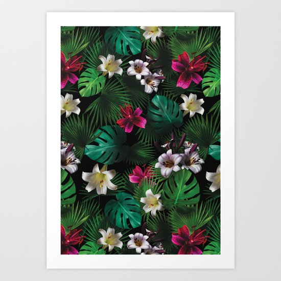 Tropical Night Garden Art Print