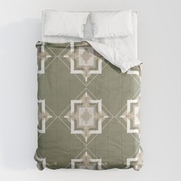 Sage Green and Taupe Mosaic Pattern Comforters