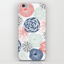 Floral Pattern in Coral Red, Navy Blue and Aqua iPhone Skin