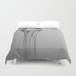 Black and White Jellyfish Art Photography, Drifting Through Time and Space Duvet Cover