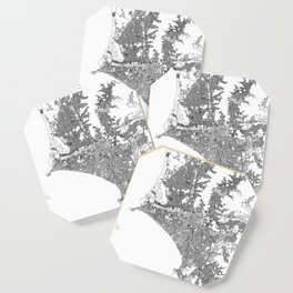 Lima White Map Coaster