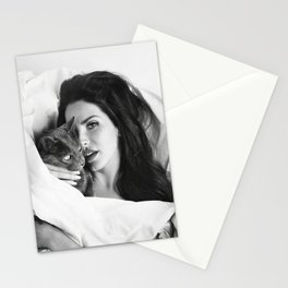 La-na Del Rey with Cat, Stylish print, music icon , gift for her, Print, Poster, Stationery Cards