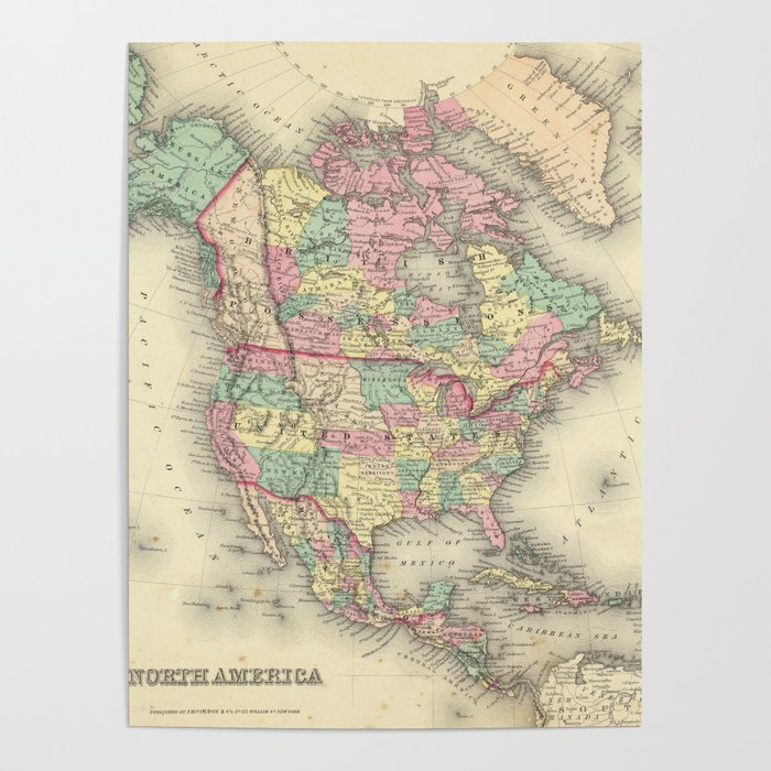 Vintage Map of North America (1856) Poster by bravuramedia