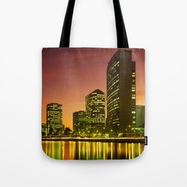 Lake Merritt and Downtown Oakland in Golden Sunset Tote Bag