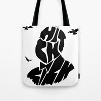 hitchcock Tote Bags featuring Hitchcock by creativecam