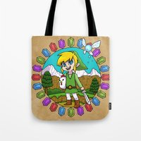hyrule Tote Bags featuring Hyrule Adventurer by Crimson Pumpkin