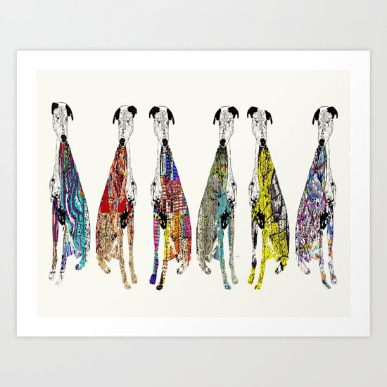 greyhound racers Art Print