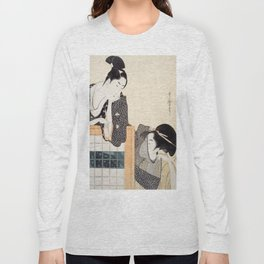 Couple with a Standing Screen by Kitagawa Utamaro Long Sleeve T-shirt
