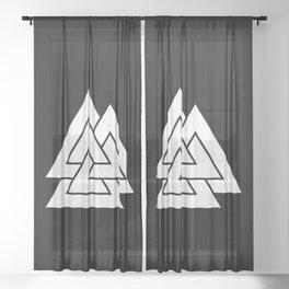 White Valknut Symbol Sheer Curtain