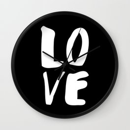 LOVE Wall Art Home Decor in Black-and-White Ink Modern Typography Poster Graphic-Design Minimalism Wall Clock