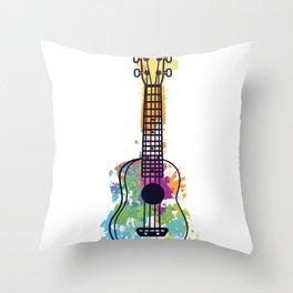Ukulele guitar color rainbow musician gift Throw Pillow