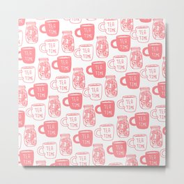Abstract coral white tea cups modern typography Metal Print