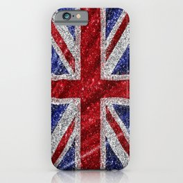 Glitter Union Jack Flag UK iPhone Case