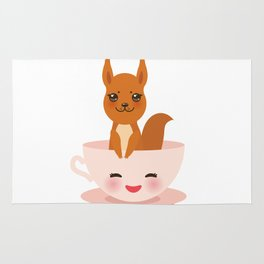 Cute Kawai pink cup with red squirrel Rug