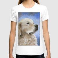 golden retriever T-shirts featuring Dog 98 Golden Retriever by ArtbyLucie