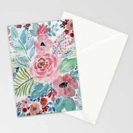 Pretty watercolor hand paint floral artwork. Stationery Cards