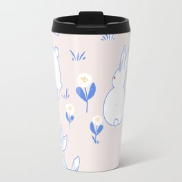 Bunny Pattern #1, Blush pink Travel Mug