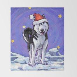 Husky Christmas Throw Blanket