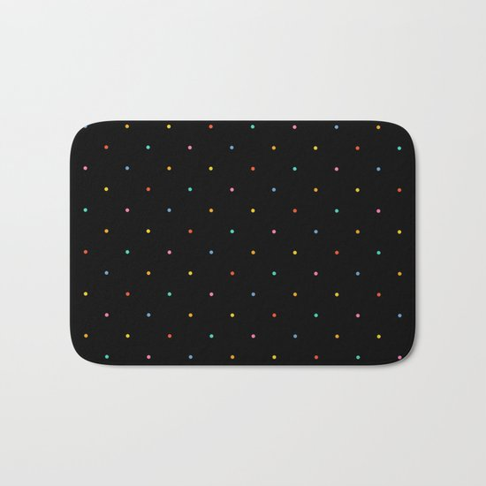 Happy Dots on Black Bath Mat