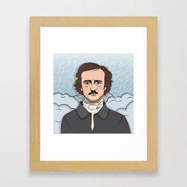 Poe in the Rain Framed Art Print