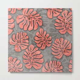 leaves coral pink on concrete grey seamless pattern Metal Print
