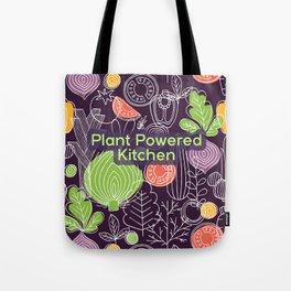 Plant Powered Kitchen Veggie Pattern Background Tote Bag