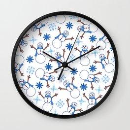 Snowmen and Snowflakes Pattern | Winter | Snow Pattern Wall Clock