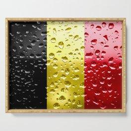Flag of Belgium - Raindrops Serving Tray