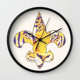 Fleur De Lis LSU Tiger Wall Clock