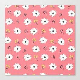 Modern hand painted pink white yellow floral illustration Canvas Print