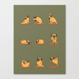 Pug Yoga In Khaki Canvas Print
