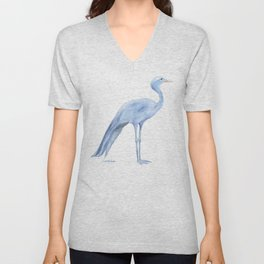 Blue Crane Watercolor Unisex V-Neck