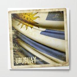 Grunge sticker of Uruguay flag Metal Print