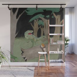 Raptor Trouble Colorized Wall Mural