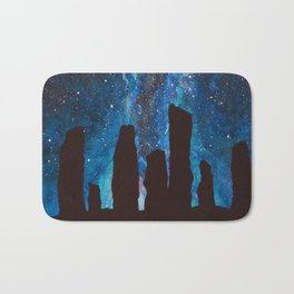 Outlander Craigh Na Dun Standing Stones Watercolor Painting with milky way galaxy Bath Mat