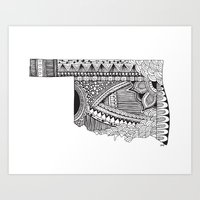 oklahoma Art Prints featuring Oklahoma by Line Upon Line Designs