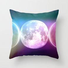 Moon Phases Triple Goddess Rainbow Throw Pillow