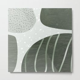 Trendy Abstract Collection: Green on Green Metal Print