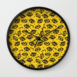 Face Time - retro throwback minimal pattern eyes faces 1980s 80s vintage memphis drawing monochrome Wall Clock