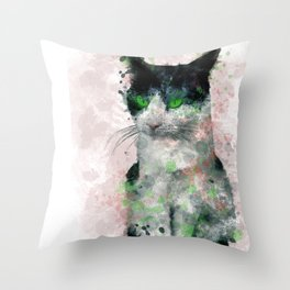 Watercolor Black And White Cat Pink Tint Green Eyes Throw Pillow