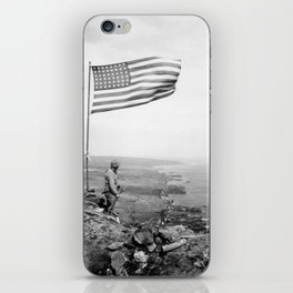 American Flag Flying Over Mount Suribachi - WWII iPhone Skin