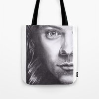 harry styles Tote Bags featuring Harry Styles by Jen Eva